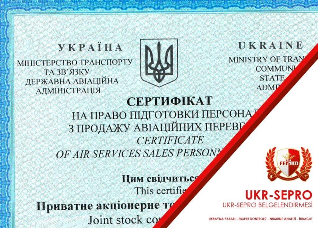 Ukr Sepro Belgesi Ukrayna Sertifikası